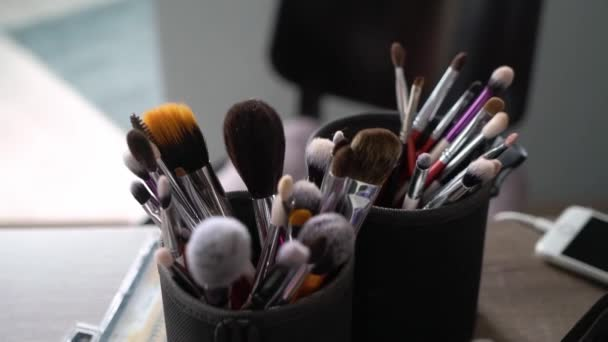 Professional kit of makeup brushes. Set for make up artist.