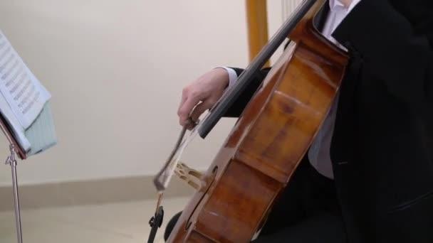 Egy férfi, aki csellózik. Hegedűs férfi zenél. Zenész a színpadi koncerten.