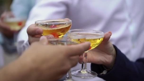 Osoba držící sklenici vína, šampaňského nebo jiného lihového nápoje v ruce na večírku, cinkání