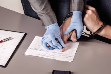 police takes fingerprints of a criminal
