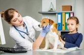 Veterinární kontrola se nemocný být v patách s stetoskop