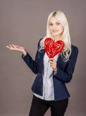 Photo business woman holding heart Valentine day symbol. Heart. Love s