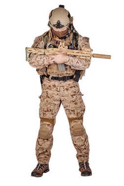 Special forces soldier with rifle on white background. army, military and people concept