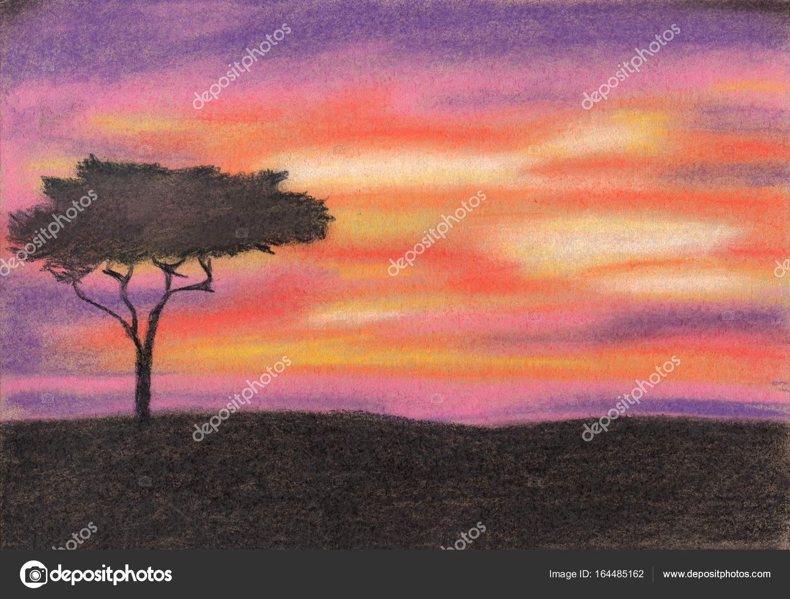 Günbatımı Afrika Pastel Boya Stok Foto Belyona 164485162