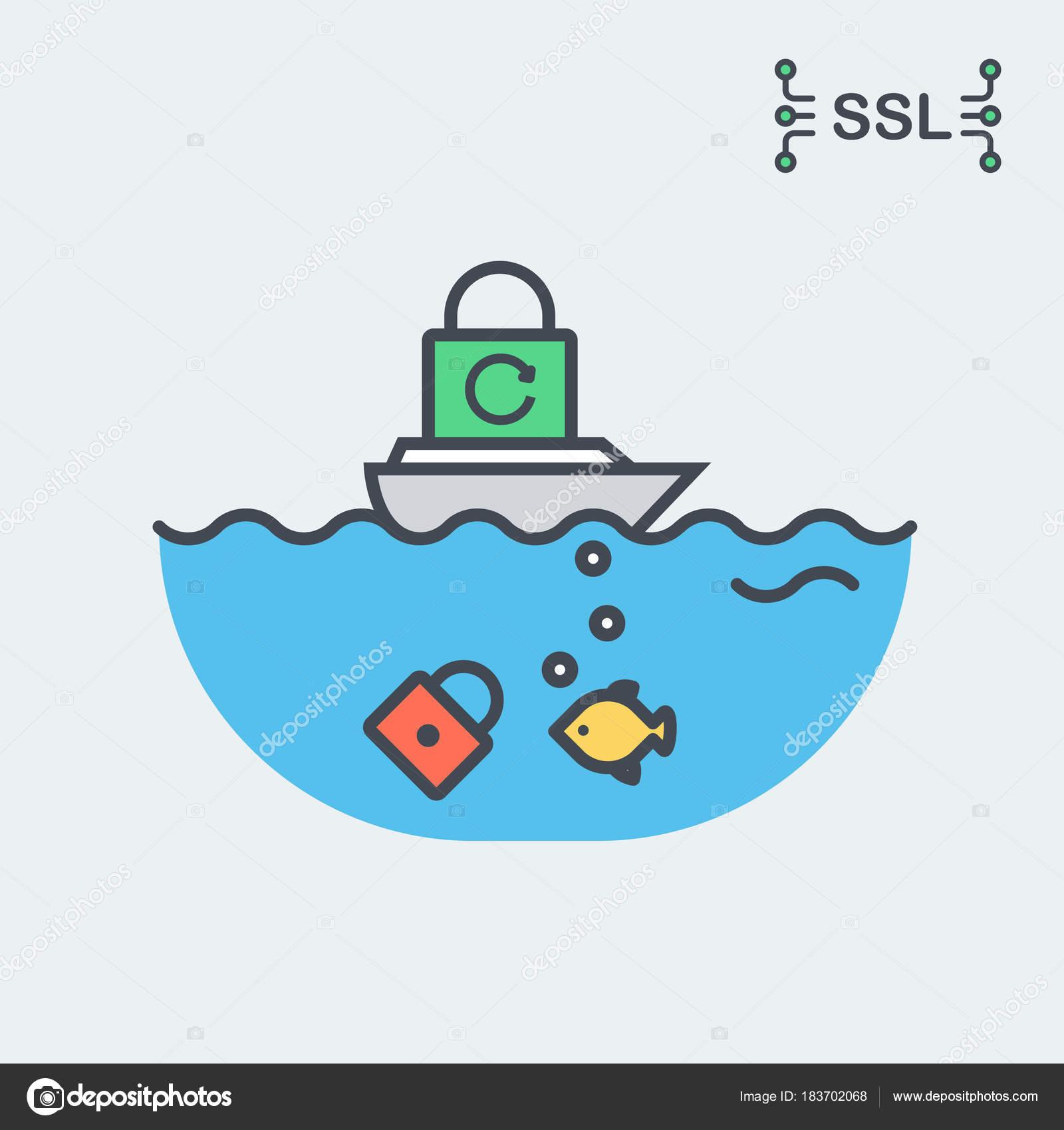 Conceptual Ssl Or Tls Certificate Illustration Stock Vector