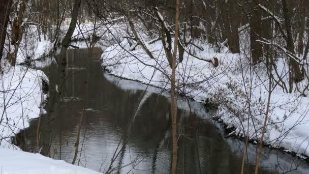 Proudu v zimě s odleskem