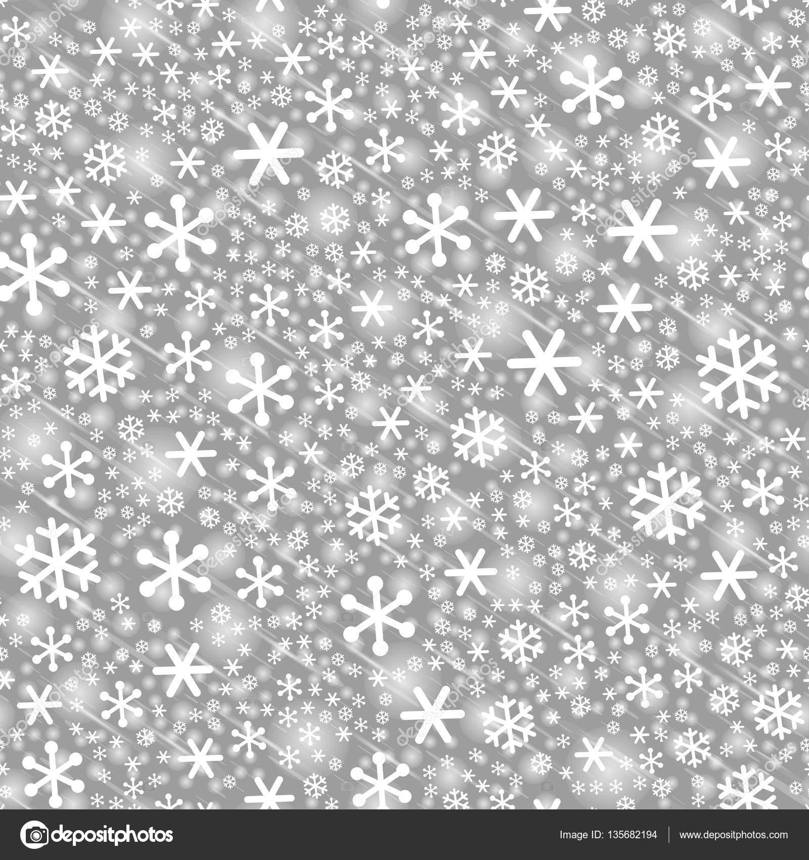 Escala de grises transparente los copos de nieve de patrones sin ...