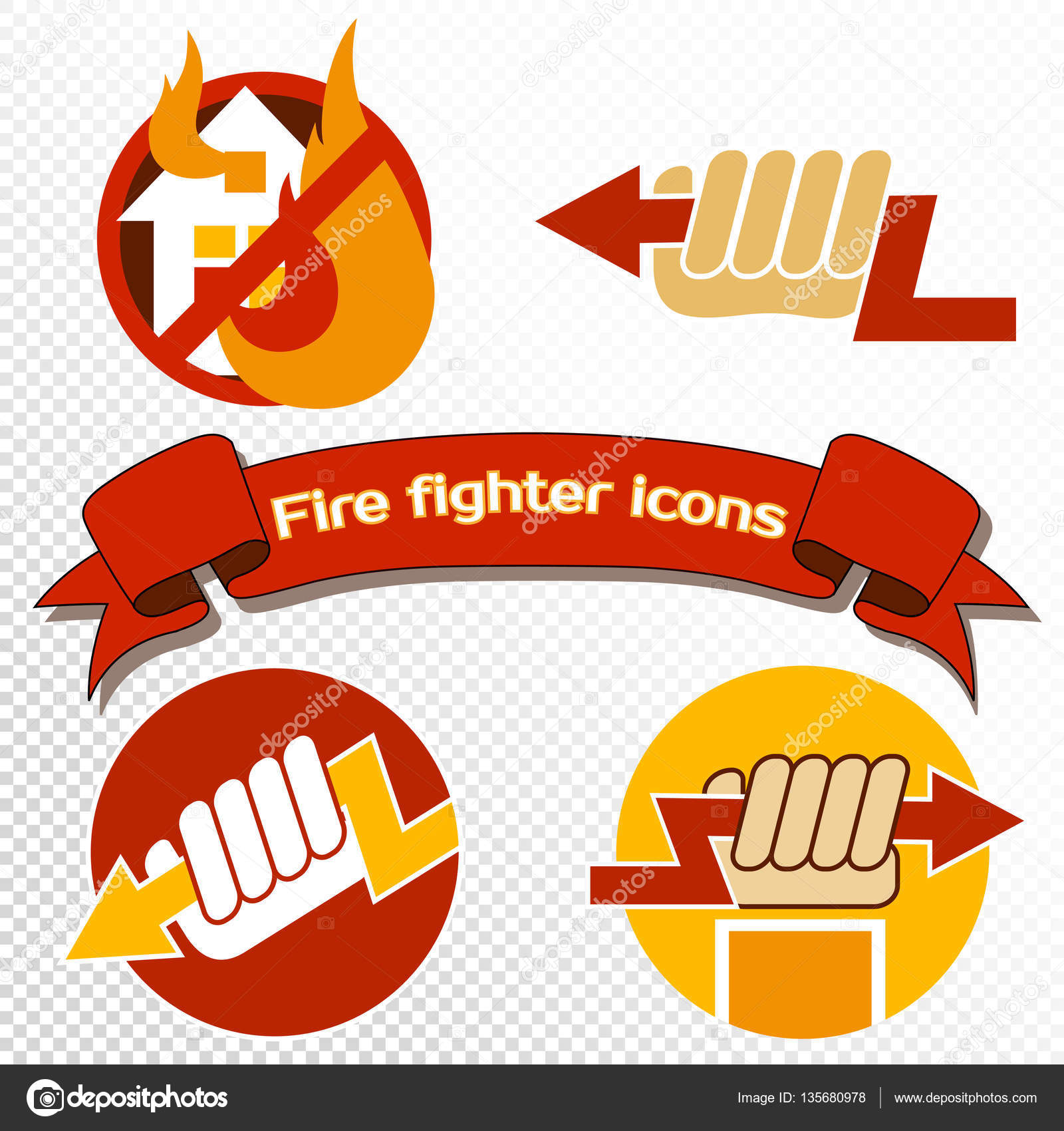 Set Of Fire Protect Symbols Stock Vector Tinkerfrost 135680978