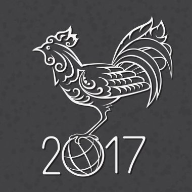 Vector black and white illustration of rooster, symbol 2017 Chinese calendar. Art sketch cock.
