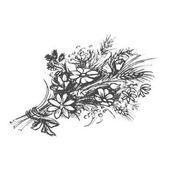 kytice lučních květin. Ručně tažené načrtnuté umění. EPS-8