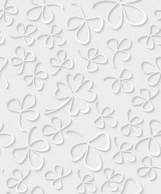 Vector Seamless 3D white paper cut Pattern Clover for St Patricks Day, Shamrock wrapping paper, ornament clover foliage, spring pattern, floral background wallpaper irish trefoil