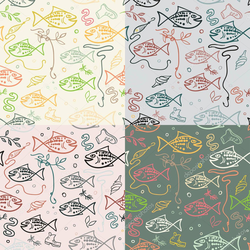 Vector seamless pattern with hand drawn funny fishes in sketch style. Decorative endless marine background. Fabric design.