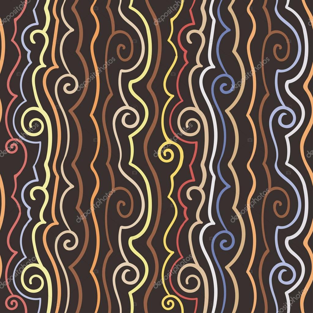Hand drawn vintage simple vector pattern of vertical waves, lines drawn, teal tones