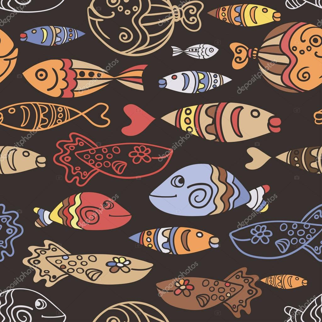 Vector seamless pattern with hand drawn funny fishes and waves in ethnic sketch style. Decorative scandinavian endless marine dark background. Fabric design.