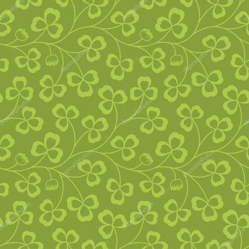 Clover leaves seamless  pattern. St. Patricks Day green background. Shamrock wallpaper