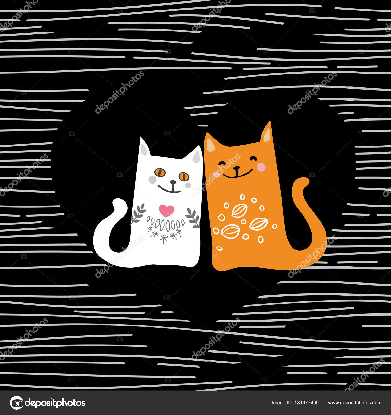 Vector Illustration Draw Character Design Couple Love Of Cat In
