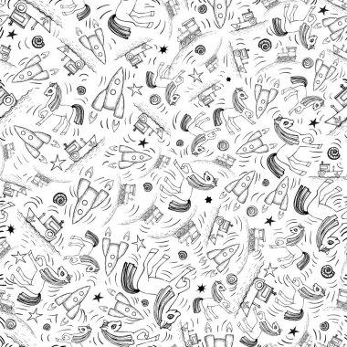 """Картина, постер, плакат, фотообои """"Cute cartoon seamless pattern with ground, water and air vehicle"""", артикул 190537284"""