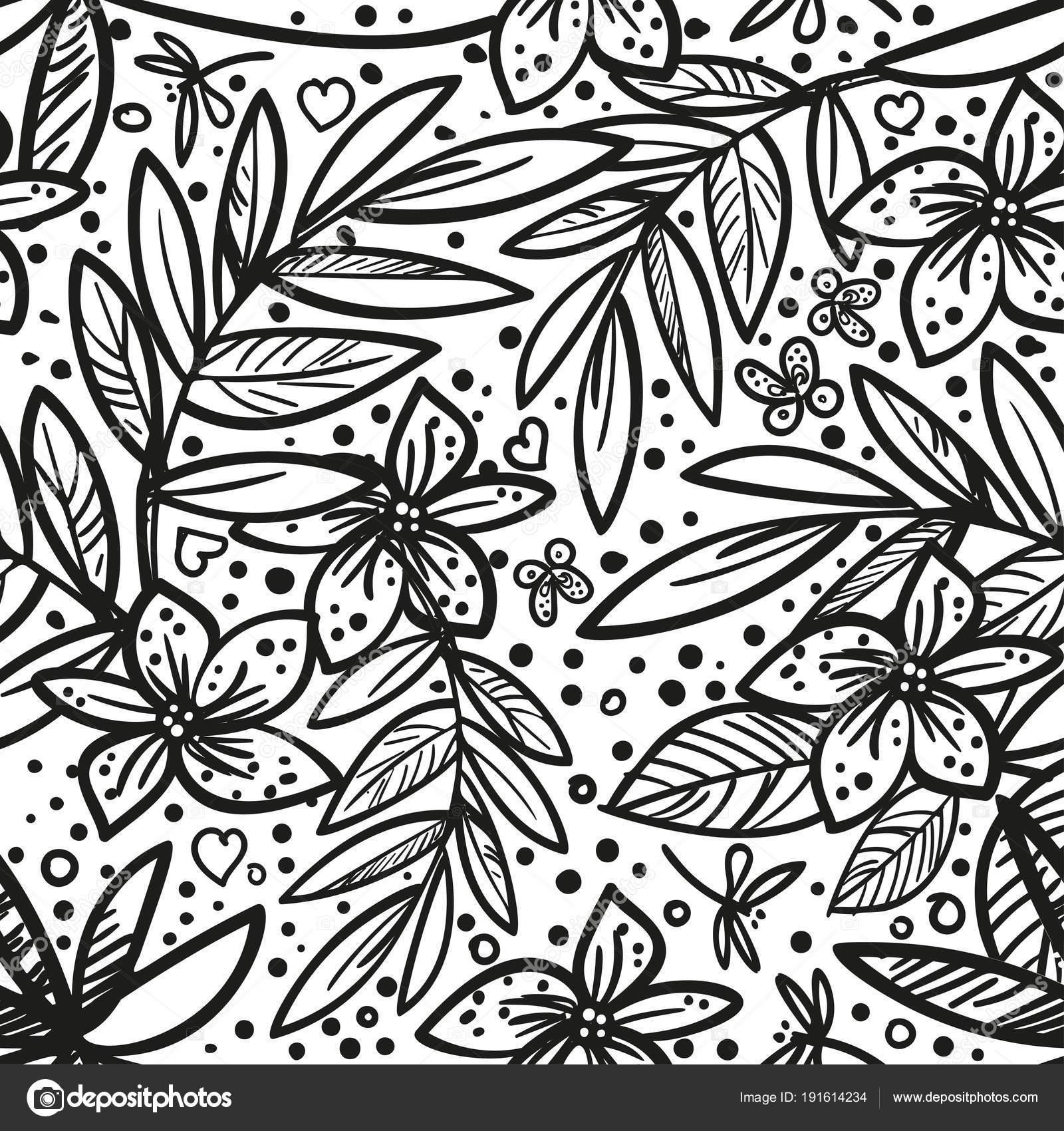 Fondo floral con estilo original blanco y negro de blanco y negro ...