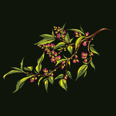 Floral embroidery of blooming branch. Vector illustration.