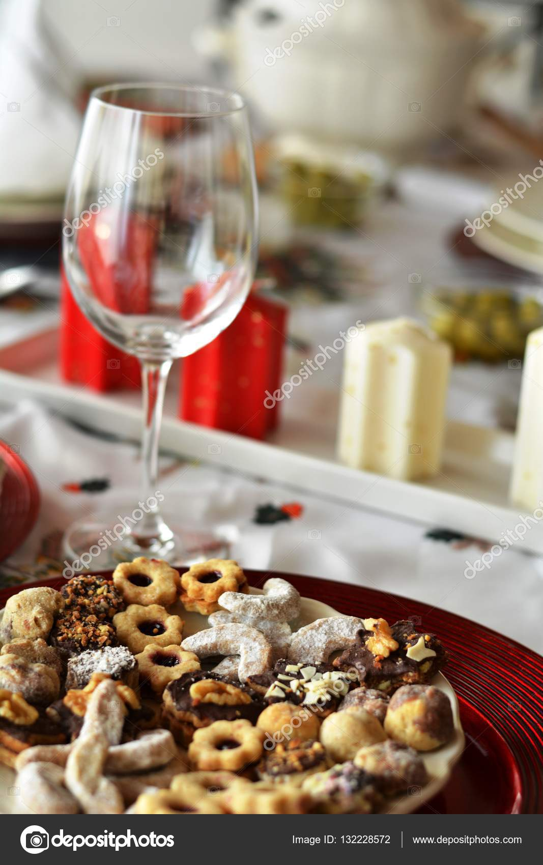 Christmas Cookies With Chocolate Nuts And Coconut Decorated On A Plate And Wine Glass Stock Photo C Martinedee 132228572
