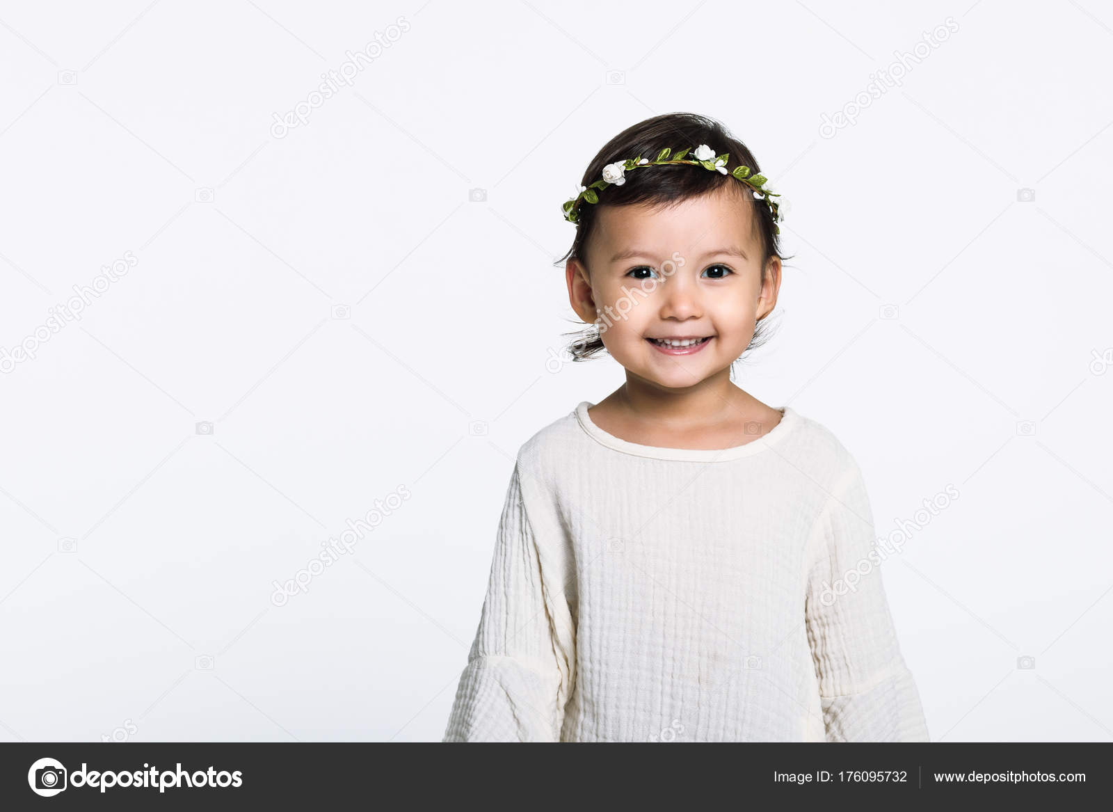 Studio Portrait Young Girl Wearing Flower Crown Looking Camera