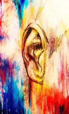 """Картина, постер, плакат, фотообои """"художественный эскиз частей лица, детали уха, на красочном структурированном абстрактном фоне фото фотографий коллаж модульные"""", артикул 356167696"""