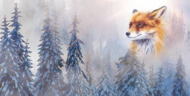 mountain snowy landscape with fox, graphic effect