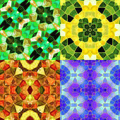 Abstract seamless kaleidoscopic patterns of stained glass for four seasons