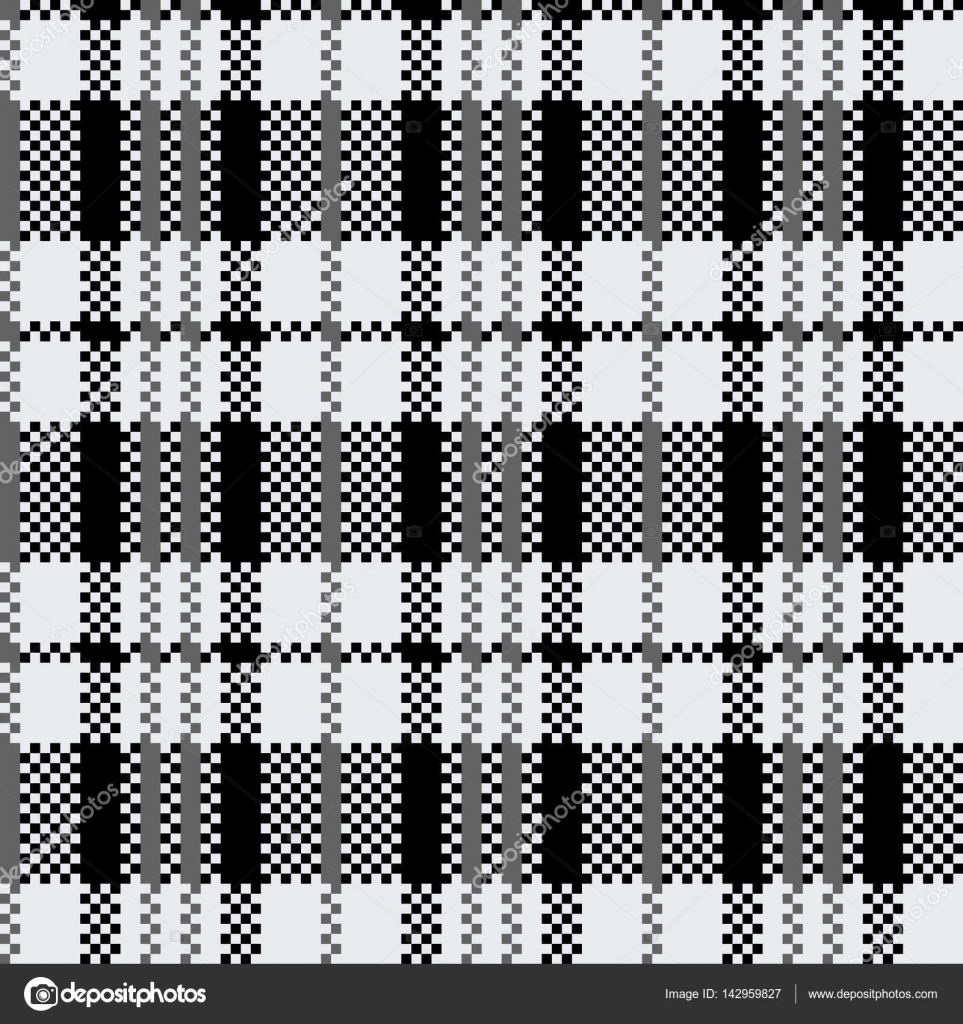 Tartan pattern scottish traditional fabric seamless for Black and white childrens fabric