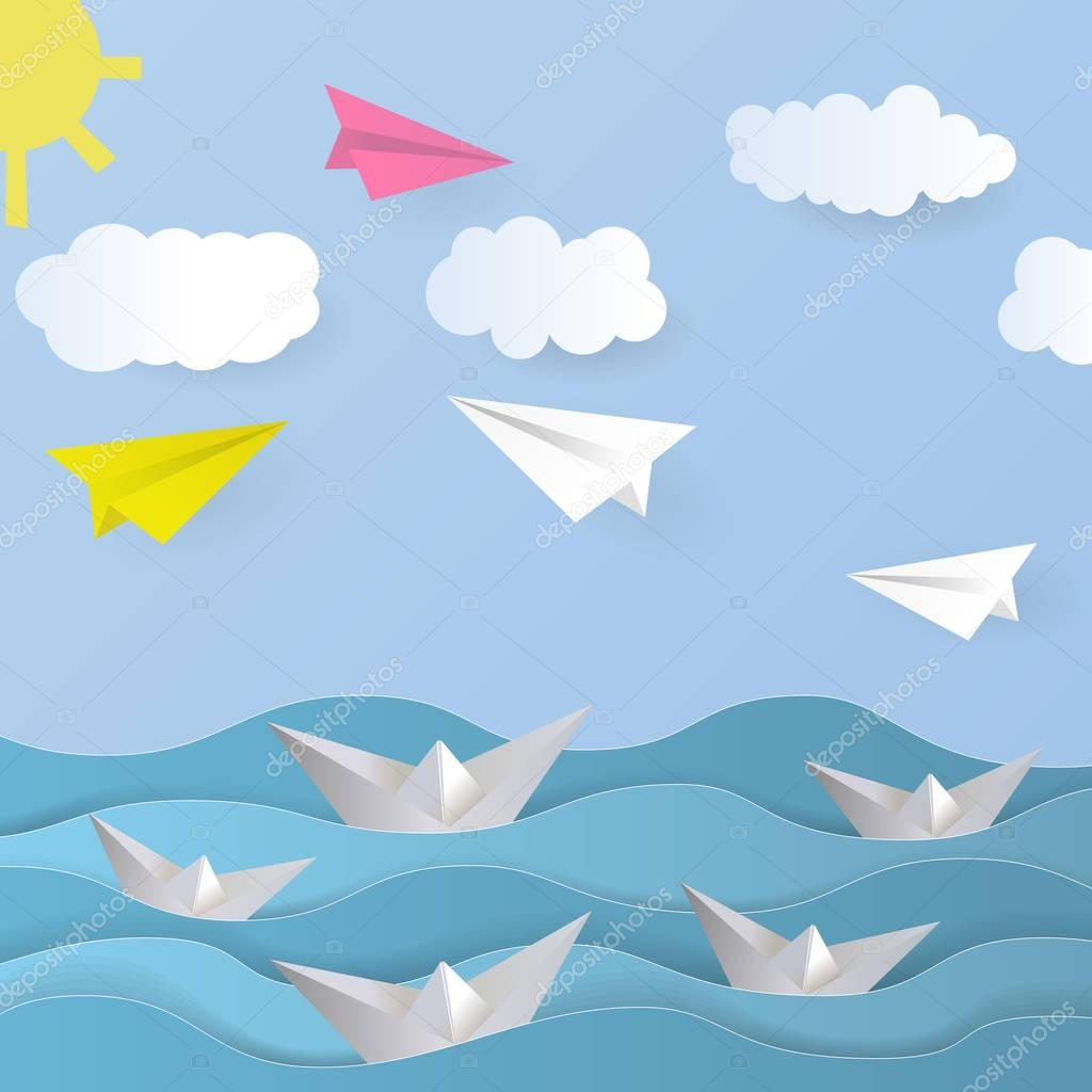 Vector Paper Background. Paper boat, paper airplane, paper sea, paper sky, paper cloud, paper sun. Origami Vector Illustration.