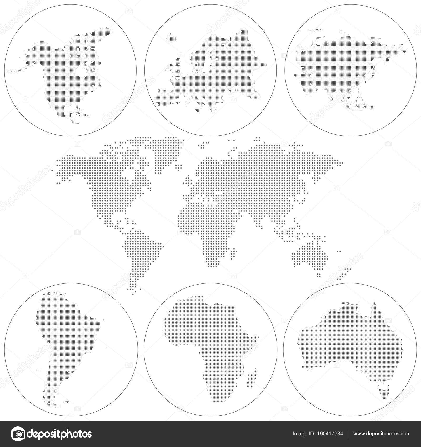 Dotted World Map. North America, South America, Australia, Africa ...