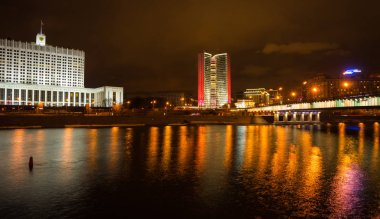 Picturesque night view of  Moscow  across the river Moscow with