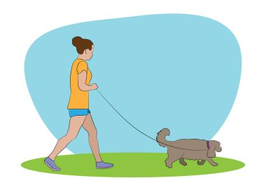 Young woman walking with pet dog. Dog walker . Friendship. Dog walking service concept. Vector illustration. icon