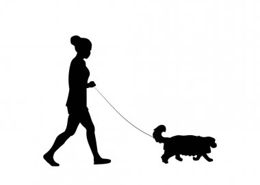 Young woman walking with pet dog. Dog walker . Friendship. Dog walking service concept. Vector illustration. Black silhouette. icon