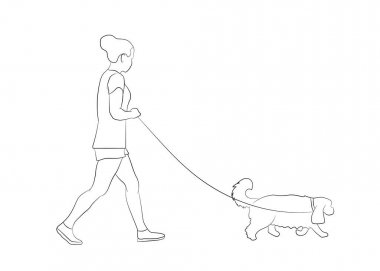 Young woman walking with pet dog. Dog walker . Friendship. Dog walking service concept. Vector illustration. Outline silhouette. icon