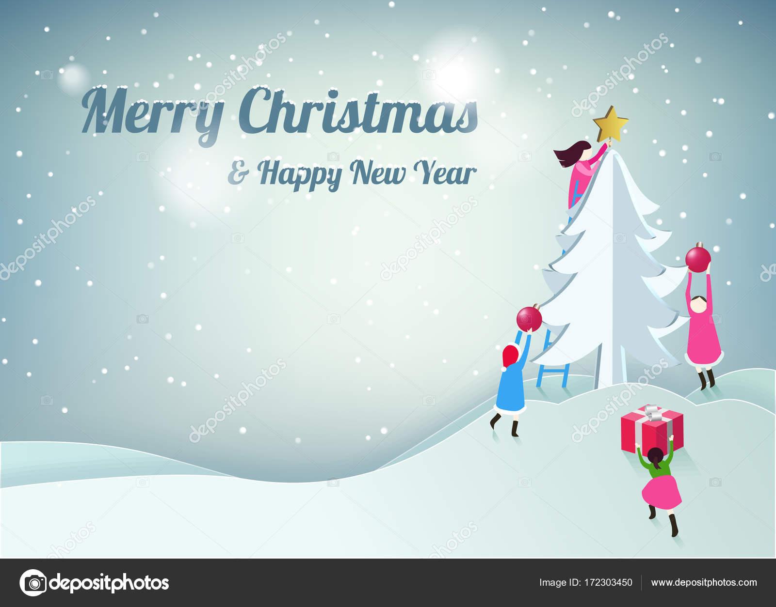 Frohe Weihnachten Und Happy New Year.Frohe Weihnachten Und Happy New Year Grußkarte Vektor Illustration