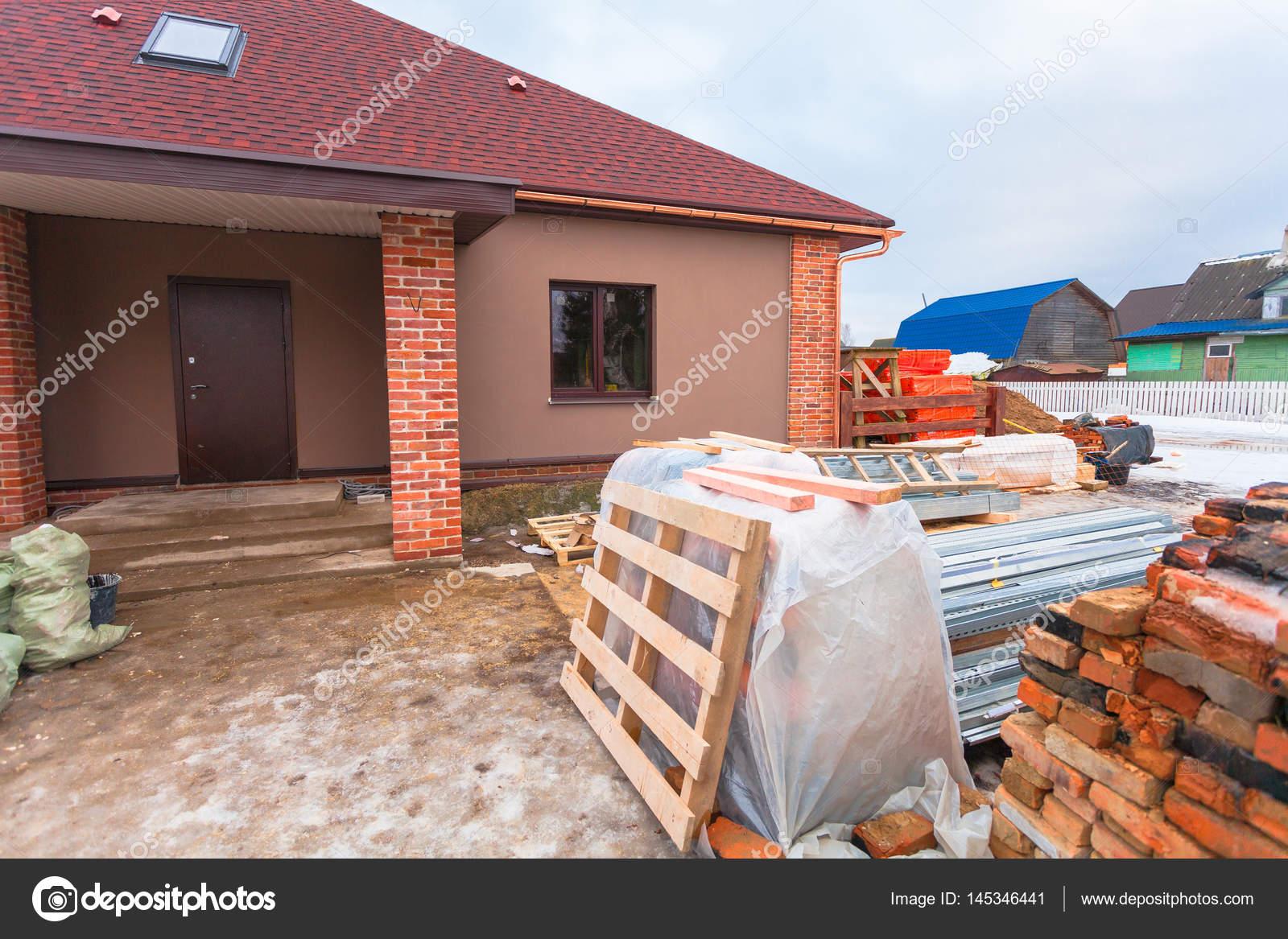 Casa Moderna Con Terraza Está Construcción Remodelación