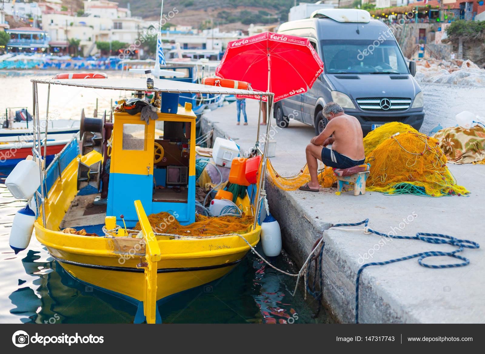 Bali Island Crete Greece June 2016 Fisherman Repairing Fish Net Stock Editorial Photo C Zazamaza 147317743