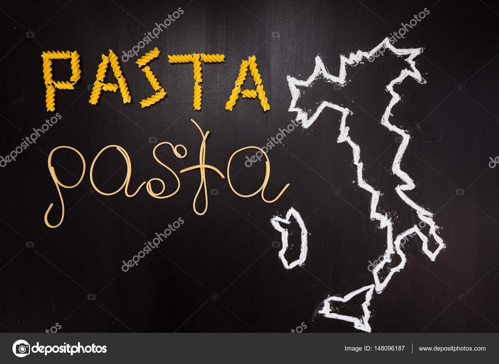 words pasta made cooked spaghetti dry pasta black background frame