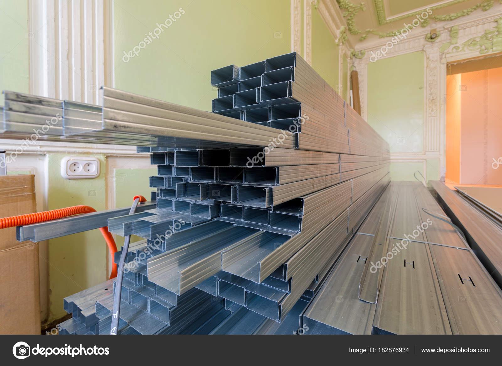 Frames Plasterboard Metal Profiles Drywall Being Prepared Making ...
