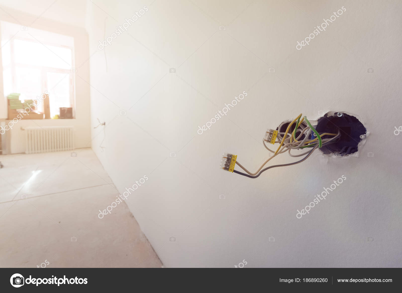 Unfinished Electrical Mains Outlet Socket With Wires And When You Go To Wire It The Ceiling Or A Wall Wiring Connector Installed In Plasterboard Drywall For Gypsum