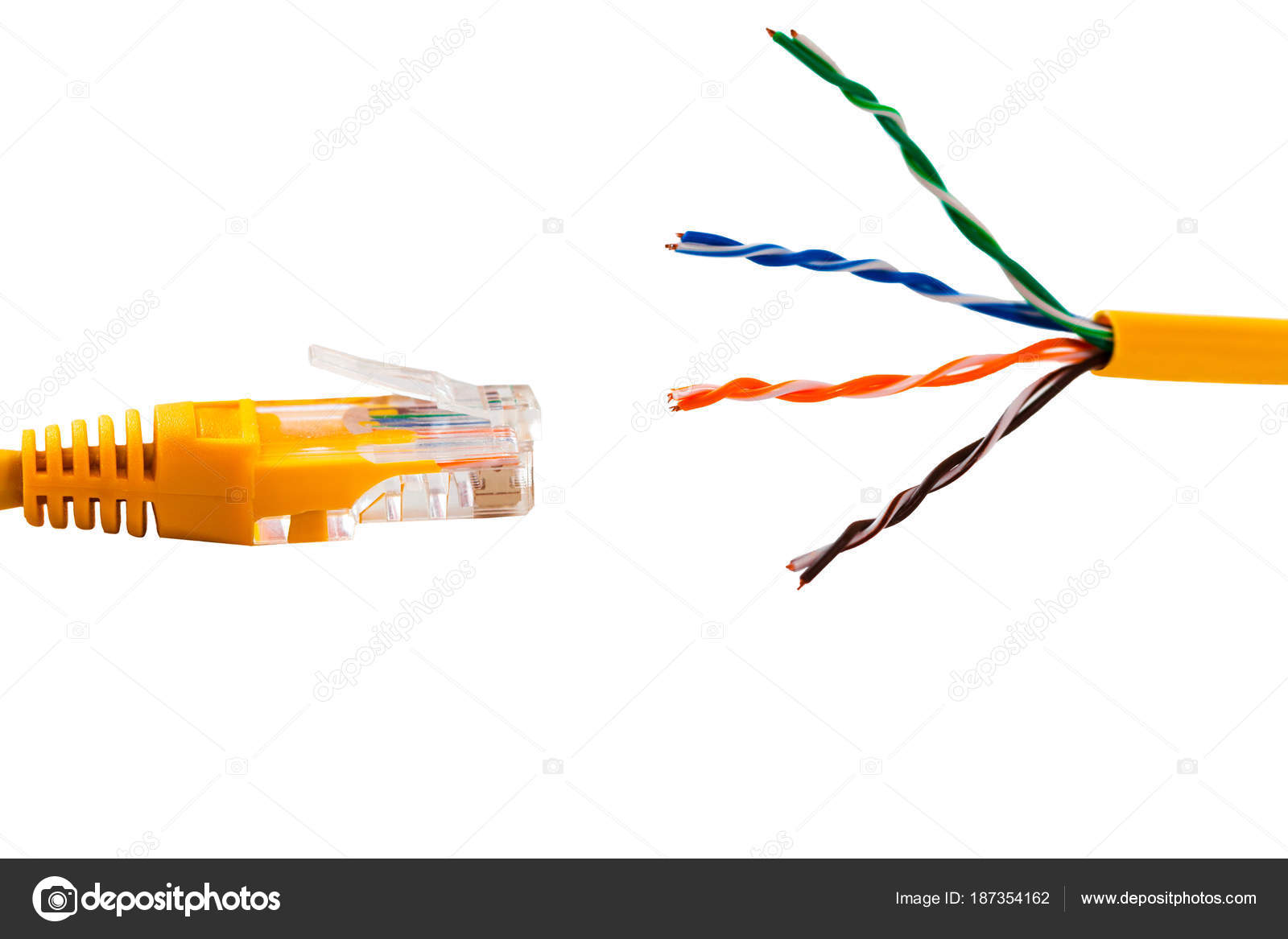 An ethernet wire cable and yellow patch-cord with twisted pair ...