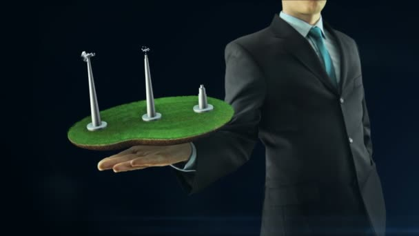 Business man has on hand green energy concept build animation windmill black