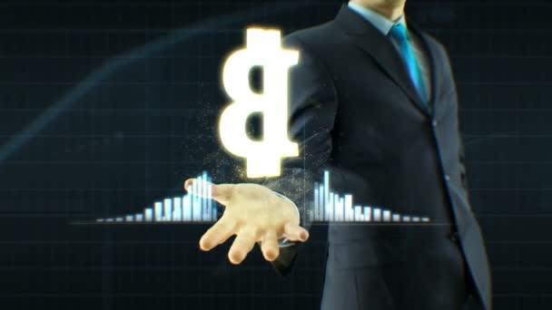 Üzleti ember, üzletember ragaszkodik bitcoin készpénz ikon kézzel növekedésének árfolyamok, valuta, exchange felnőni koncepció