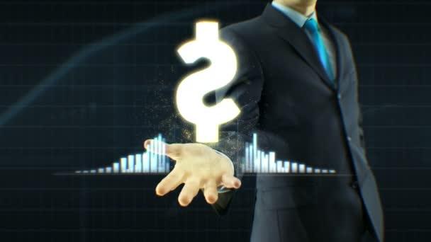 Obchodník, podnikatel drží dolar ikonu na ruku růstu cenových nabídek, měna, výměna vyrostou koncept