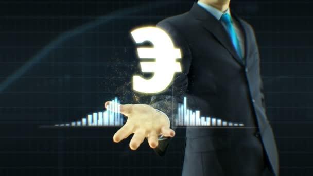 Obchodník, podnikatel držení eura ikonu na ruku růstu cenových nabídek, měna, výměna vyrostou koncept