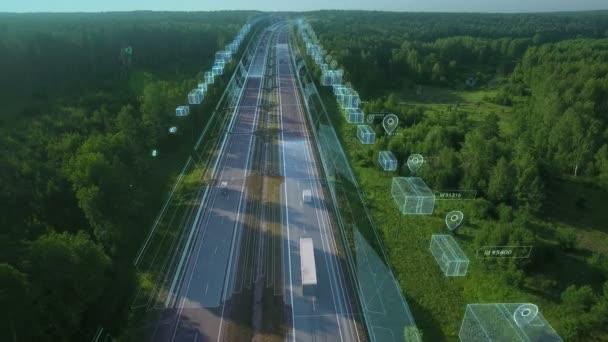 Logisztika, áruk és csomagok szállítása és szállítása szállítóeszközökkel, furgonnal és teherautóval. Légi felvétel autópályán személygépkocsikkal és infografikával.