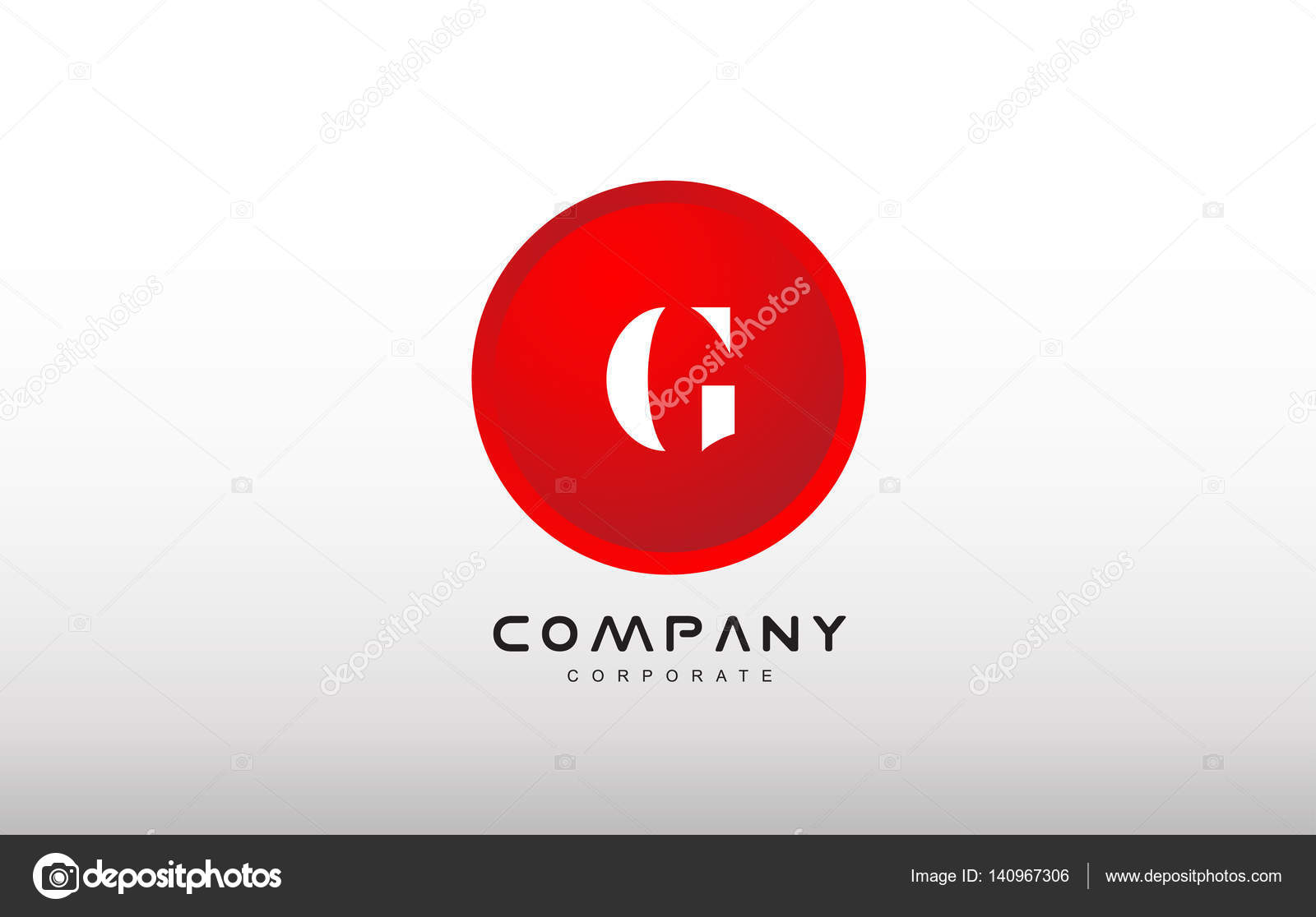 G Letter Alphabet Red Circle Dot Logo Vector Design Stock Vector