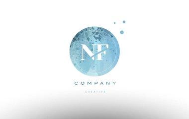 nf n f  watercolor grunge vintage alphabet letter logo