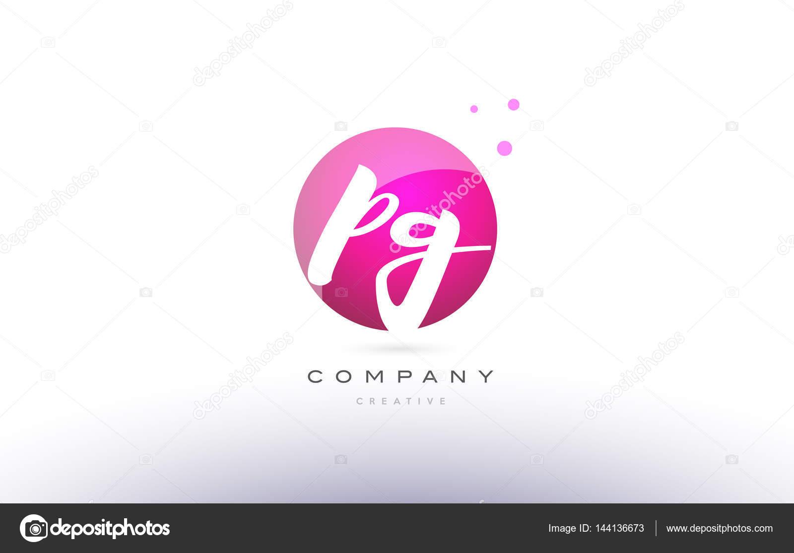 Pg P G Sphere Pink 3d Hand Written Alphabet Letter Logo Stock